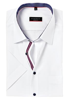 Eterna Modern Fit overhemd, korte mouw, wit (blauw-rood contrast)