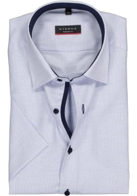 ETERNA modern fit overhemd, korte mouw, structuur heren overhemd, lichtblauw met wit (donkerblauw contrast)