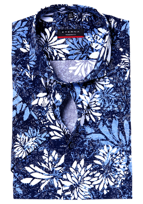 ETERNA Modern Fit overhemd, korte mouw, blauw dessin