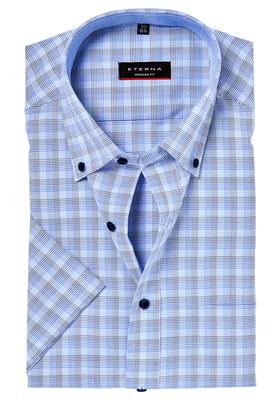 ETERNA Modern Fit overhemd, korte mouw, blauw geruit (contrast)