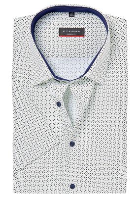 ETERNA Modern Fit overhemd, korte mouw, blauw-groen dessin (contrast)