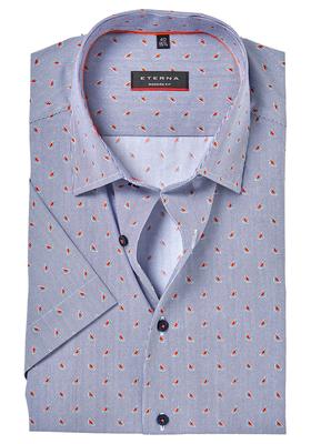 ETERNA Modern Fit overhemd, korte mouw, blauw watermeloen dessin (contrast)