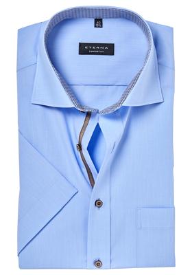 ETERNA Comfort Fit, korte mouw, lichtblauw (bruin contrast)