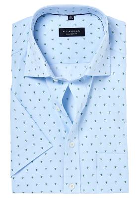 ETERNA Comfort Fit, korte mouw, blauw palm dessin (contrast)