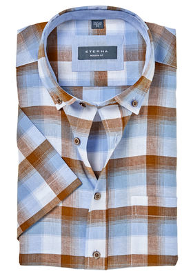 ETERNA Modern Fit overhemd, korte mouw, linnen blauw-bruin geruit (contrast)