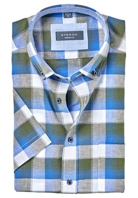 ETERNA Modern Fit overhemd, korte mouw, linnen blauw geruit (contrast)