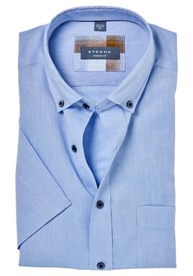 ETERNA Modern Fit overhemd, korte mouw, linnen lichtblauw