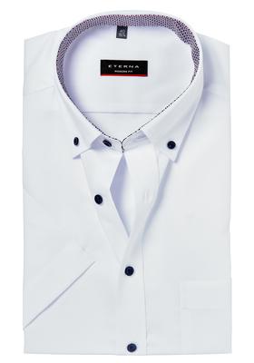ETERNA Modern Fit overhemd, korte mouw, wit (rood-wit-blauw contrast)