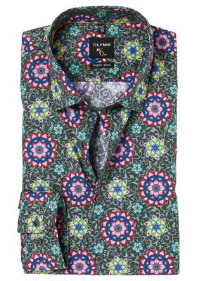 OLYMP No. 6 Six, Super Slim Fit overhemd mouwlengte 7, kaki-rood print