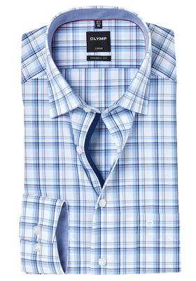 OLYMP Modern Fit overhemd, blauw-bruin geruit (contrast)