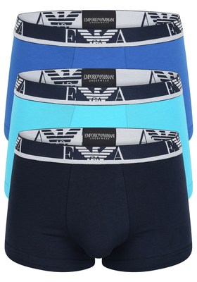 Armani Trunks (3-pack), drie kleuren blauw