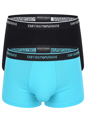 Armani Trunks (2-pack), zwart en aqua