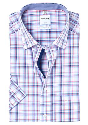 OLYMP Comfort Fit, overhemd korte mouw, blauw-rood geruit (contrast)