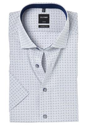 OLYMP Modern Fit, overhemd korte mouw, beige-blauw dessin (contrast)
