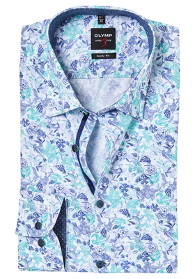 OLYMP Level 5 Body Fit mouwlengte 7, florale print blauw-mint (contrast)