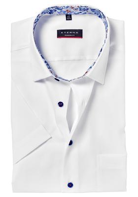 Eterna Modern Fit overhemd, korte mouw, wit (blauw contrast)