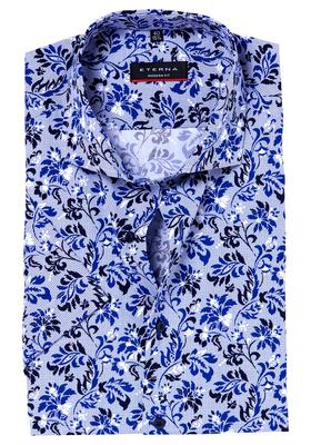 Eterna Modern Fit overhemd, korte mouw, donkerblauw gebloemd
