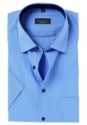 ETERNA Comfort Fit, korte mouw, blauw geruit (contrast)