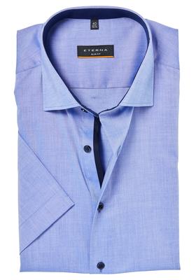 ETERNA Slim Fit Stretch overhemd, korte mouw, blauw (contrast)