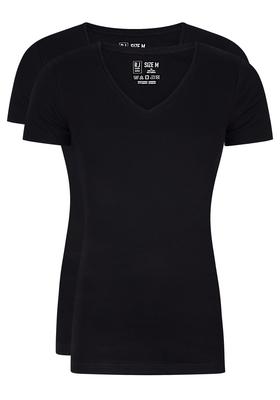 RJ Bodywear Everyday, Alkmaar, 2-pack, T-shirt diepe V-hals, zwart rib
