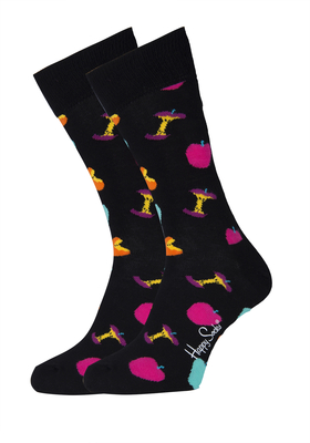 Happy Socks Apple Sock zwart met kleurtjes