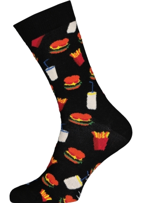 Happy Socks sokken Hamburger Sock, zwart met fast food