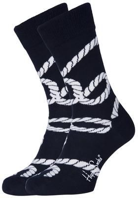 Happy Socks herensokken Rope Sock blauw met wit geknoopt