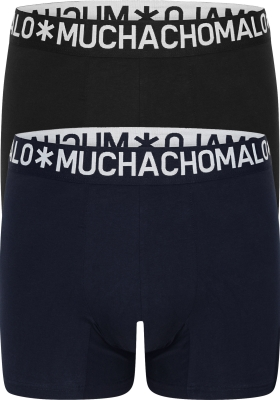 Muchachomalo Light Cotton boxershorts (2-pack), heren boxers normale lengte, blauw en zwart
