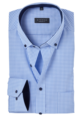 ETERNA Comfort Fit overhemd, lichtblauw geruit (button-down)