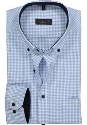 ETERNA Comfort Fit overhemd, lichtblauw geruit (button-down)