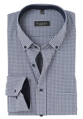 ETERNA Comfort Fit overhemd, blauw geruit (button-down)