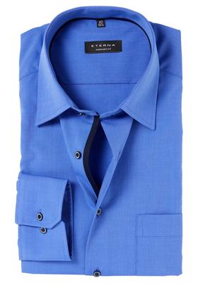 ETERNA Comfort Fit overhemd, midden blauw fil à fil (contrast)