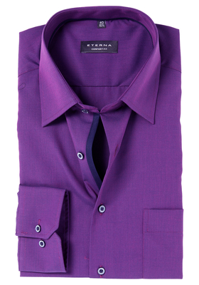 ETERNA Comfort Fit overhemd, paars fil à fil (contrast)