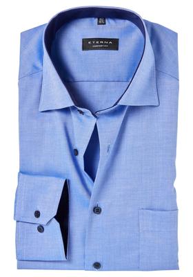 ETERNA Comfort Fit overhemd, midden blauw structuur (contrast)