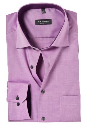 ETERNA Comfort Fit overhemd, donker roze structuur (contrast)