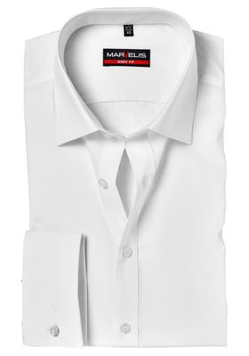 MARVELIS Body Fit overhemd, dubbele manchet, wit