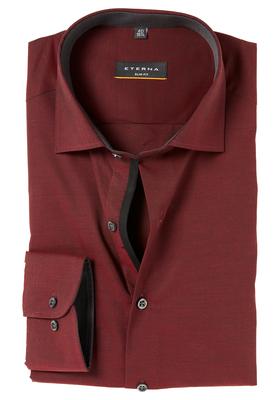 ETERNA Slim Fit Stretch overhemd, bordeauxrood (contrast)