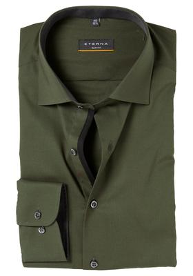 ETERNA Slim Fit Stretch overhemd, olijf groen(contrast)