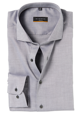 ETERNA Slim Fit Stretch overhemd, grijs natté structuur