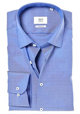 ETERNA 1863 Modern Fit overhemd, blauw visgraat (premium)