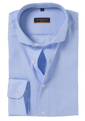 Eterna Slim Fit Stretch overhemd, super lange arm, licht blauw structuur (contrast)