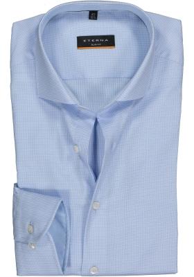 ETERNA slim fit stretch overhemd, mouwlengte 72 cm, structuur heren overhemd, lichtblauw met wit (lichtblauw contrast)