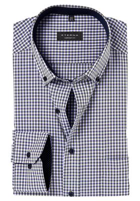 ETERNA Comfort Fit overhemd, mouwlengte 7, groen-blauw geruit (button-down)