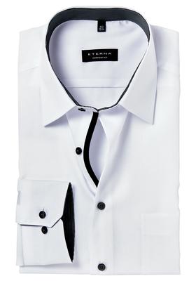 ETERNA Comfort Fit overhemd, mouwlengte 7, wit (zwart gestreept contrast)