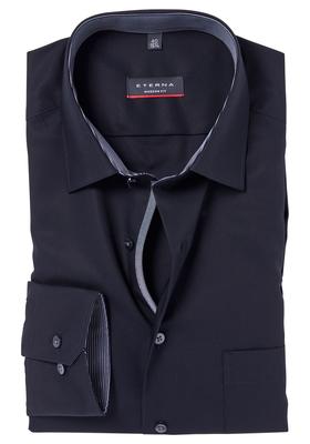 Eterna Modern Fit, Mouwlengte 7, zwart fijn Oxford (grijs/zwart contrast)