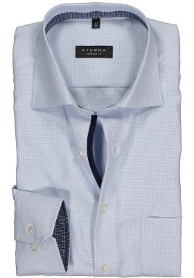 ETERNA comfort fit overhemd, twill structuur heren overhemd, lichtblauw (contrast)