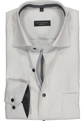 ETERNA comfort fit overhemd, twill structuur heren overhemd, grijs (contrast)