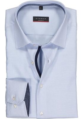 ETERNA modern fit overhemd, twill structuur heren overhemd, lichtblauw (donkerblauw contrast)
