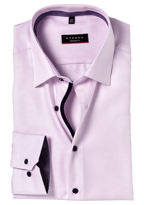 Eterna Modern Fit overhemd, roze twill (contrast)