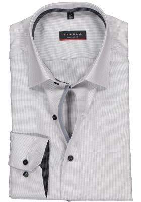ETERNA modern fit overhemd, twill structuur heren overhemd, grijs (zwart contrast)